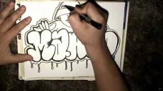 getlinkyoutube.com-Drawing Marco Throw up and graffiti character- Mr Chino- (Sureno Bang- Instrumental)