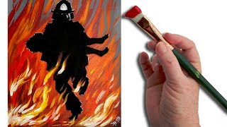 getlinkyoutube.com-Fireman Rescue Acrylic painting Tutorial for beginning Artists