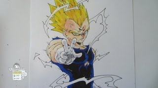 getlinkyoutube.com-How to draw Vegeta (Majin) from Dragon Ball Z ベジータ 超サイヤ人2