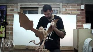 getlinkyoutube.com-HOW TO SCULPT A DRAGON ATTACKING IN MID FLIGHT - MONSTER MONTH - DAY 17