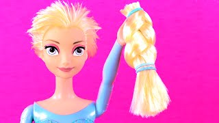 getlinkyoutube.com-Frozen Elsa Cuts Her Hair! Features Frozen Anna, Ariel, Maleficent, Descendants Mal & Evie