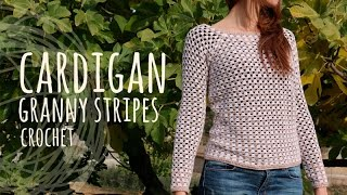 getlinkyoutube.com-Tutorial Easy Crochet Cardigan - Granny Stripes