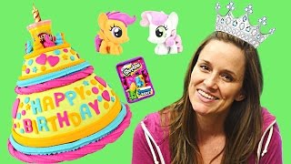 getlinkyoutube.com-Huge BIRTHDAY Play Doh Cake Surprise Toys Frozen MyLittlePony POP Shopkin Hello Kitty Egg Plastilina