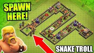 "getlinkyoutube.com-Clash Of Clans - EPIC TROLL BASE ""THE SERPENT"" - CoC Friendly Challenge Trolling 2016!"