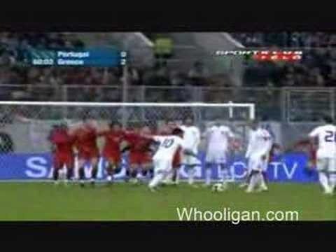 Karagounis Free Kick Goal Greece 2 Portugal 1 Friendly
