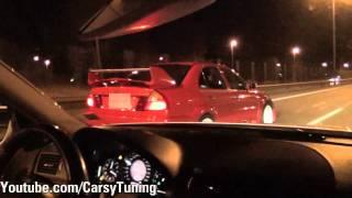 getlinkyoutube.com-Mercedes Benz E63 AMG vs Mitsubishi Lancer Evo 6 TME