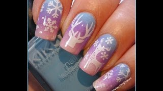 getlinkyoutube.com-Winter Landscape Manicure with Gradient and Cici&Sisi Stamping Plates - Tutorial
