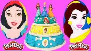 Giant Disney Princesses Play Doh Surprise Cake & Eggs! Belle, Ariel, Snow White, Cinderella