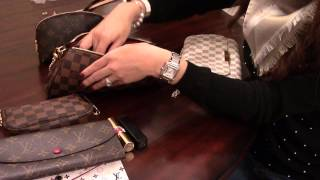 getlinkyoutube.com-Louis Vuitton Favorite MM VS Eva Clutch (Comparison)