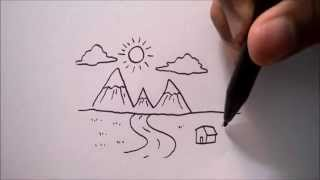 "getlinkyoutube.com-CARA MENGGAMBAR PEMANDANGAN DARI HURUF ""W"" 