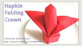 getlinkyoutube.com-Thanksgiving Table Setting - How to Fold a Crown from a Napkin - DIY Napkin Folding Restaurant