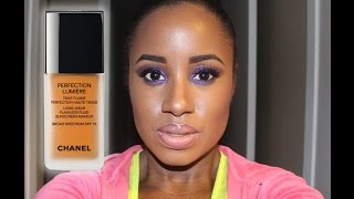 getlinkyoutube.com-Chanel Perfection Lumiere Foundation in Color 114 ambre (Swatch & Wear Test)