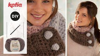 getlinkyoutube.com-Love Wool DIY: Cuello tricolor · Tricolour neck warmer
