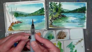 getlinkyoutube.com-Pond Scene Beginner Watercolor Tutorial {Real time)