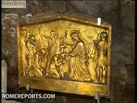 Paintings and water found at the prison where St  Peter was believed to have been held