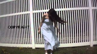 getlinkyoutube.com-Model Standing In The Wind With Blowing Long Dress And Hair walking woman