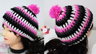getlinkyoutube.com-طاقية كروشيه بغرزة الباف العادية سهلة جدا للمبتدئين  Puff stitch crochet beanie for beginners 