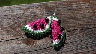 getlinkyoutube.com-Watermelon Crocheted Earrings.
