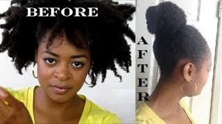 getlinkyoutube.com-Top Knot Bun 4C Type Hair |  #LazyDayHair | LaToya Codner