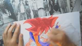 getlinkyoutube.com-Speed Drawing - Goku God from Dragon Ball Z