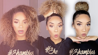 getlinkyoutube.com-Easy BUN for CURLY Hair! (Talk-Thru)