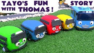 getlinkyoutube.com-Thomas The Tank Engine Prank By Tayo 꼬마버스 타요 | Play Doh Toy Minions Thomas and Friends Story