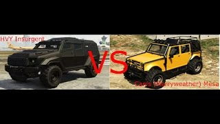 getlinkyoutube.com-GTA V - HVY Insurgent vs Canis Merryweather Mesa (GTA V Car vs Car)