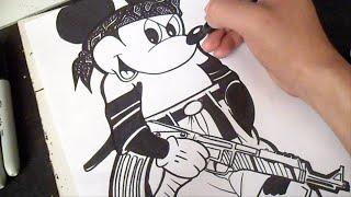 getlinkyoutube.com-Cómo dibujar a Mickey Mouse Gangsta (Wizard) Graffiti - Special 5 mil Subs!!!