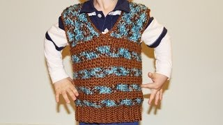 getlinkyoutube.com-How to crochet boy's vest sweater - video tutorial for beginners