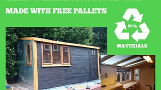 getlinkyoutube.com-RECYCLED PALLET SHED, WORKSHOP, STUDIO, GYM - DIY