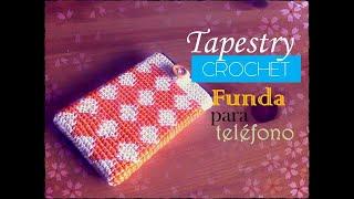 getlinkyoutube.com-Tapestry crochet: funda para el móvil o celular (diestro)