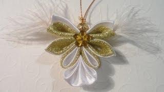 getlinkyoutube.com-Новогодний Ангел . Игрушки на ёлку Канзаши / Christmas Angel . Christmas Balls kanzashi
