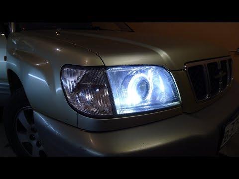 Subaru Forester тюнинг фар Установка светодиодных би модулей Optima и ангельских глазок