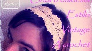 getlinkyoutube.com-Cinta o diadema para el pelo a ganchillo estilo vintage (diestro)