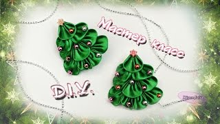 getlinkyoutube.com-❉ Ёлочка  - заколка из лент КАНЗАШИ/ ❉ DIY Christmas Tree hair-pin from ribbons