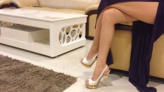 White high heels and sexy club dress width=