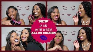 "getlinkyoutube.com-""NEW"" LA Girl Matte Flat Velvet Lipstick Collection Swatches & Review (ALL 26 Shades)"