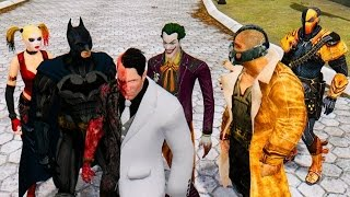 getlinkyoutube.com-Batman Crew vs The Amazing Spiderman - Bane,Deathstroke,Batman,TwoFace,Joker,Harley Quinn