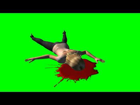 Blood Splatter with dead woman - green screen effects