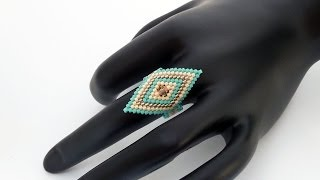TheHeartBeading: Brick Stitch Ring Tutorial (no sound)
