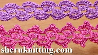 getlinkyoutube.com-Crochet Lace Braid Ribbon Tape Tutorial 31 3-Double Crochet Cluster