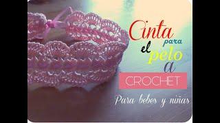 getlinkyoutube.com-Cinta para el pelo a crochet para bebes (diestro)
