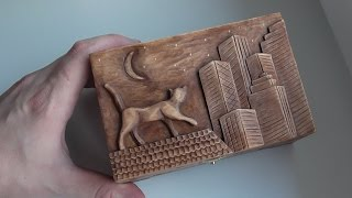 getlinkyoutube.com-Wood carving | Carved jewelry box with cat on the roof | handmade art gift | DIY