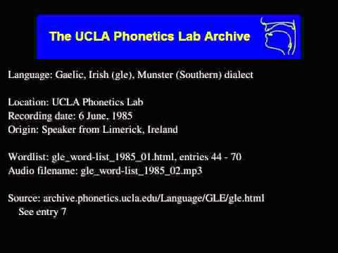 Gaelic, Irish audio: gle_word-list_1985_02
