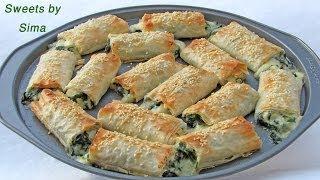 getlinkyoutube.com-فطائر السبانخ بجبنة الفيتا والموزريلا ممممم طيبة  Spinach Pie with Feta cheese
