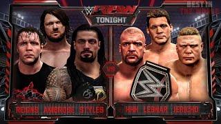 getlinkyoutube.com-WWE RAW 3/21/16 - Roman Reigns, AJ Styles & Ambrose vs HHH, Brock Lesnar & Jericho - WWE RAW 2K16