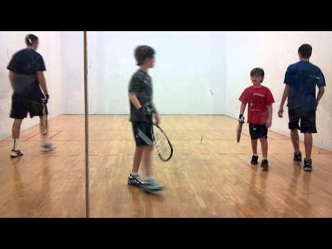 noah and carter doubles racquetball against bigger kids