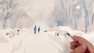getlinkyoutube.com-How to Watercolor: Painting Demo of a Snow Street by Yong Chen