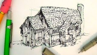 getlinkyoutube.com-Pen and Ink Drawing Tutorials | How to draw a house