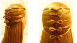 Простая прическа в школу на длинные волосы.  Easy girls hairstyle